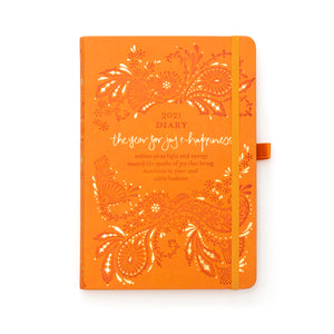 Intrinsic Adèle Basheer Inspirational 2021 Diary, Planner and Journal in Sunrise Orange with joy and happiness quote