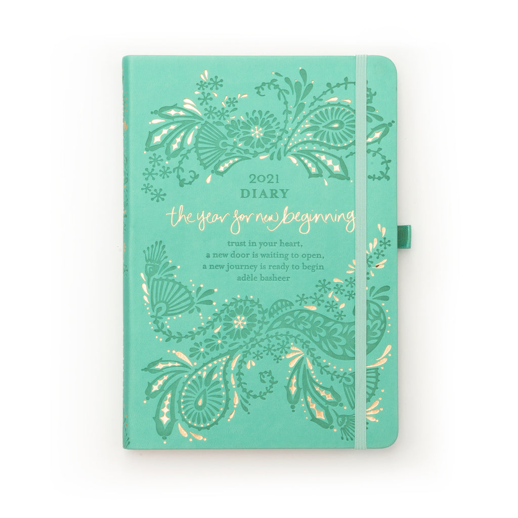 Intrinsic Adèle Basheer Tahitian Turquoise Aqua 2021 Inspirational Diary and Planner for new beginnings