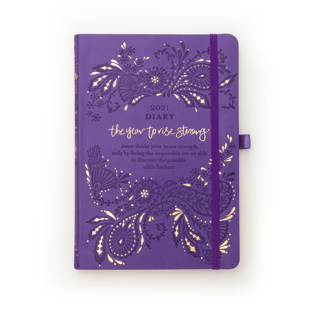 Intrinsic Violet Purple 2021 Inspirational Diary and Planner to rise strong, with Adèle Basheer Inspirational Quotes