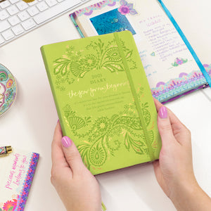 Intrinsic Australian Inspirational Green 2021 Diary Planner with Adèle Basheer motivational quotes - new beginnings
