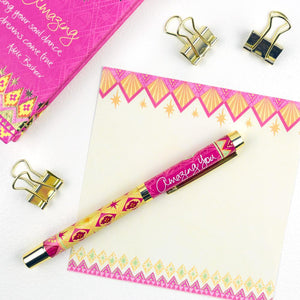 Hot Pink and Yellow Amazing You Rollerball Pen with Matching Stationery