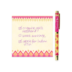 Hot Pink and Yellow Rollerball Pen with Purple Ink