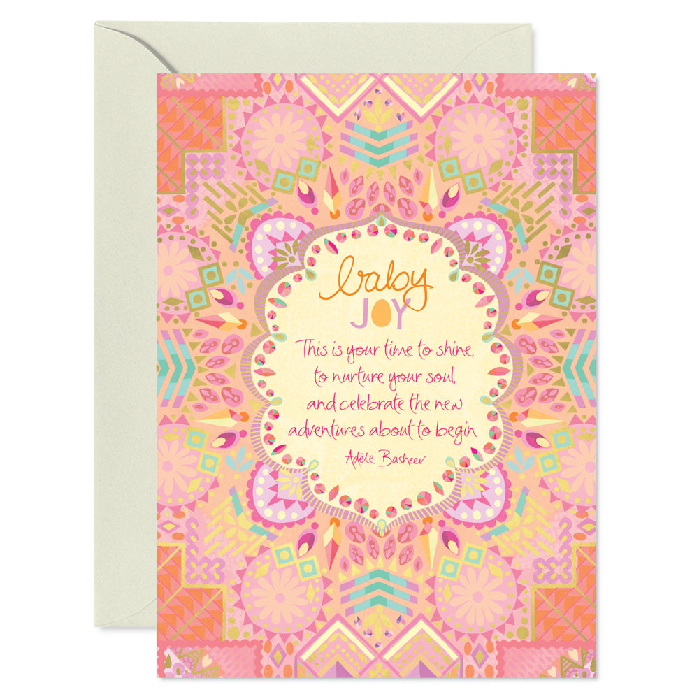 Intrinsic Coral Pink Boho Baby Girl Shower Greeting Card