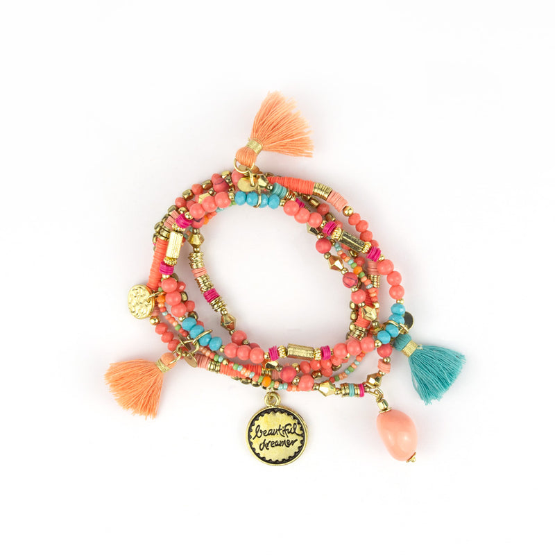 Coral, Soft Pink, Turquoise Beaded Bliss Gold Charm Bracelet Stack