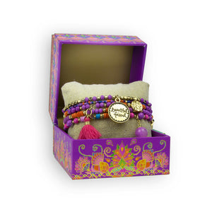 Intrinsic Purple Friendship Tassel Boho Bracelet Gift Box