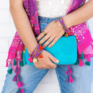 Intrinsic Beautiful You Summer Scarf, matching bracelets and Peacock Travel clutch.