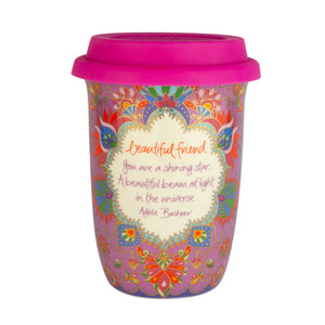 Purple Boho Ceramic Keep Cup with Friendship Quote