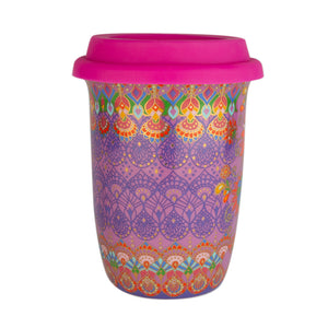Purple Patterned Boho Ceramic Travel Cup