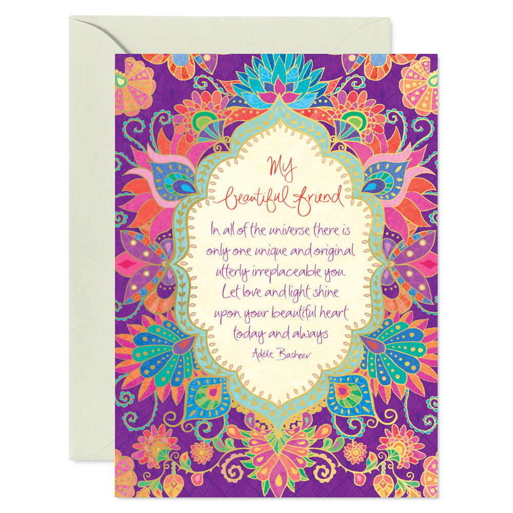 Intrinsic Purple Beautiful Friend Greeting Card with inspirational friendship quote