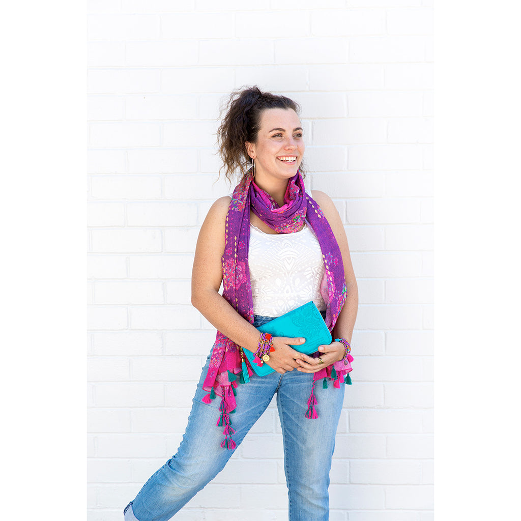Intrinsic Beautiful You Summer Scarf, matching bracelets and clutch.