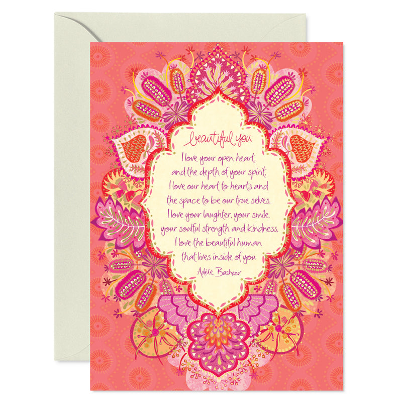 Intrinsic Coral Love and Friendship Greeting Card by Adele Basheer