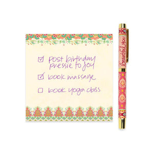 Beautiful You Coral Rollerball Pen With Pink Ink and Matching Stationery