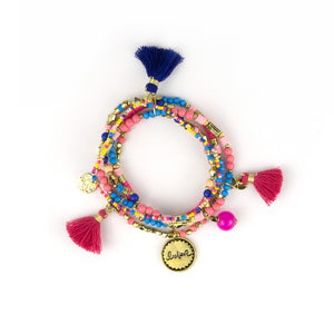 Intrinsic Hot Pink and Blue Beaded Bracelet Stack