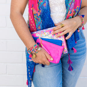 Intrinsic's Pink and Blue Believe Bracelet Stack, Guided Journal and Fashion Scarf