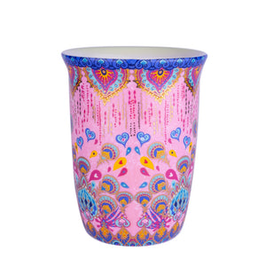 Pink Patterned Ceramic Coffee Travel Mug