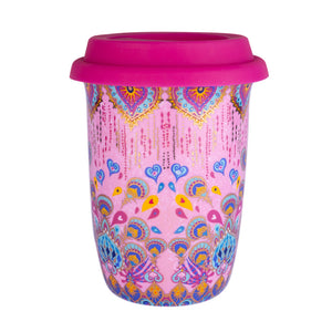 Pink Patterned Ceramic Keep Cup