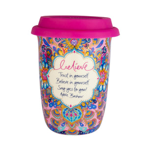 Intrinsic Hot Pink Patterned Boho Ceramic Travel Mug with Hot Pink Silicone Lid