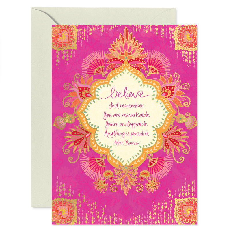 Intrinsic Hot Pink and Gold Believe Inspirational Greeting Card