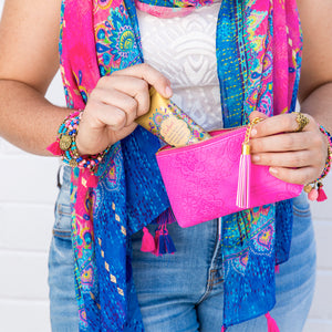 Intrinsic Believe Tassel Scarf, Miami Pink Coin Purse and Believe Handcream