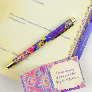 Intrinsic Believe Purple and Pink Patterned Pen with Matching Stationery