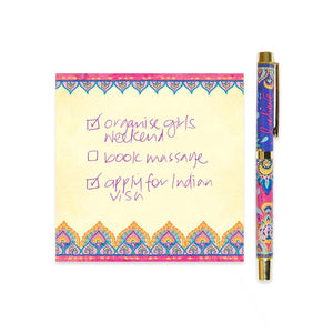 Purple and Hot Pink Patterned Rollerball Pen with Purple Ink