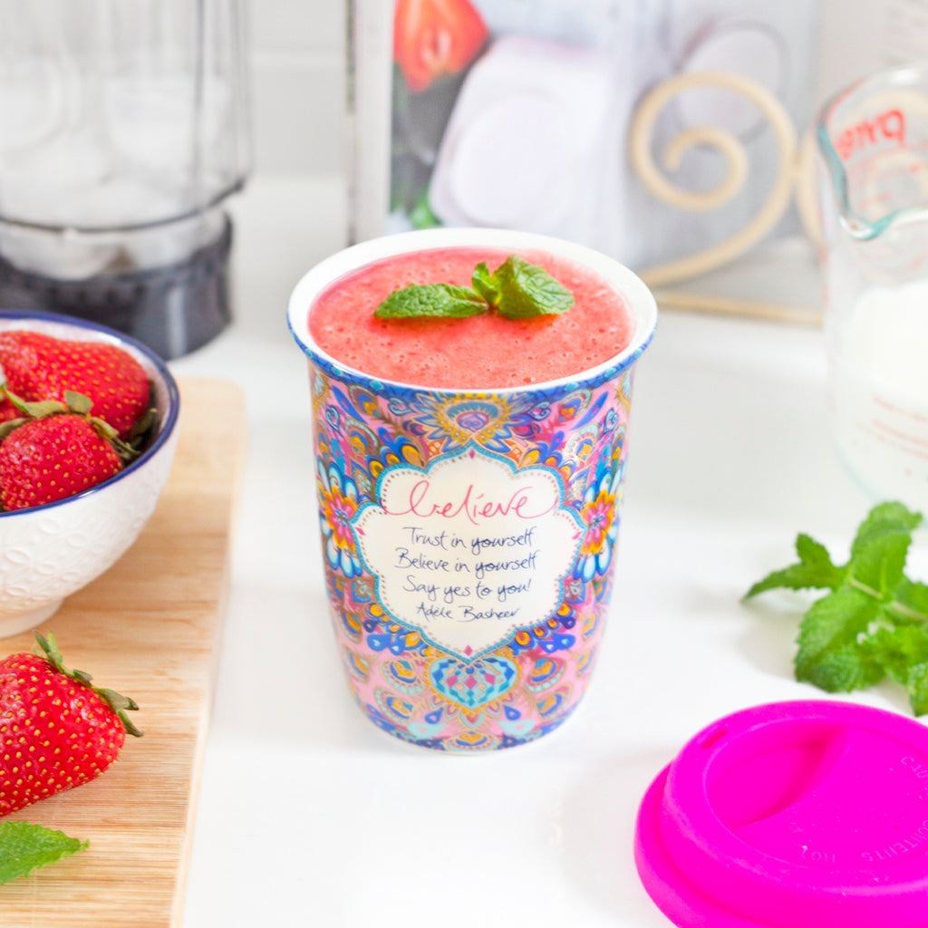 Australian Smoothie Keep Cup with Inspirational Believe in Yourself message