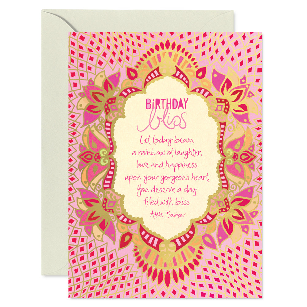 Australian Intrinsic Pink and Gold Birthday Bliss Greeting Card