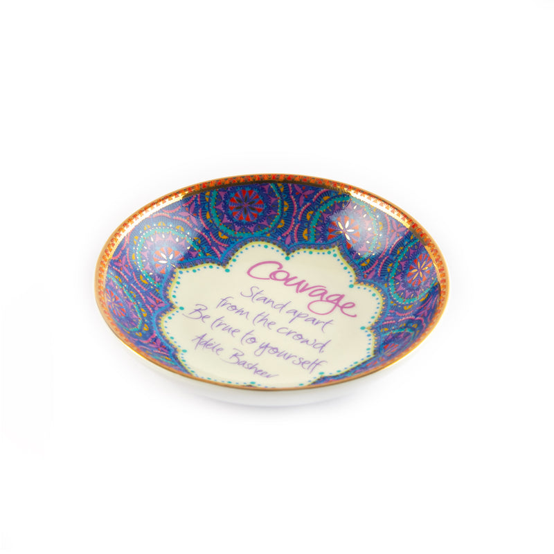 Intrinsic Courage Blue Mandala Ceramic Jewellery Dish