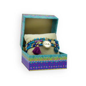 Intrinsic Blue Beaded Tassel Charm Gift Boxed Bracelet Stack
