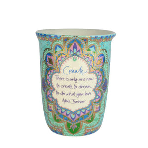 Turquoise Patterned Ceramic Travel Reuse Mug with Adele Basheer Quote