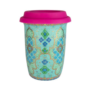 Turquoise Mandala Patterned Ceramic Coffee Keep Cup