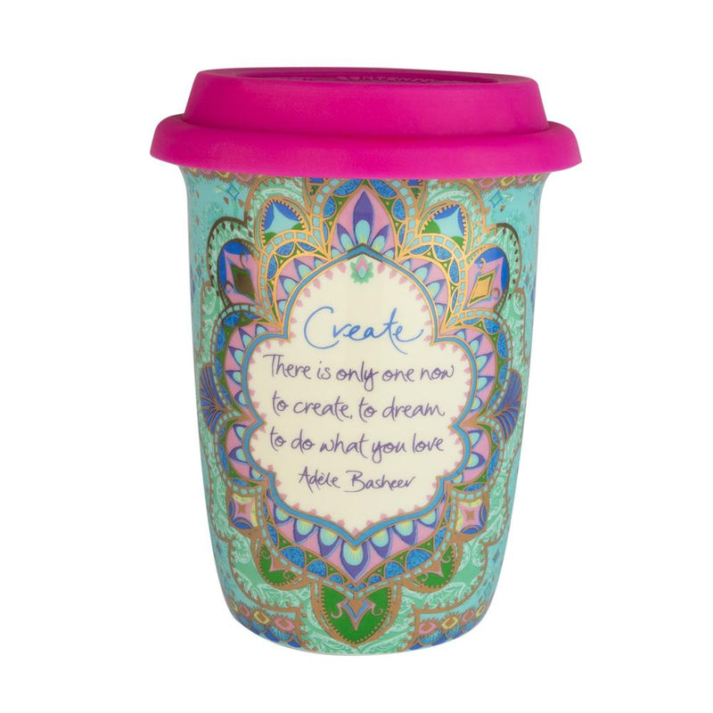 Turquoise Mandala Patterned Ceramic Travel Mug Cup to keep with Hot Pink Lid