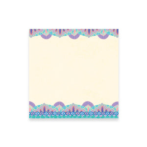Turquoise and Lilac Purple Note Paper with Patterned Trim