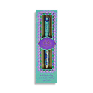 Turquoise Blue Illustrated Rollerball Pen in a Intrinsic Gift Boxed