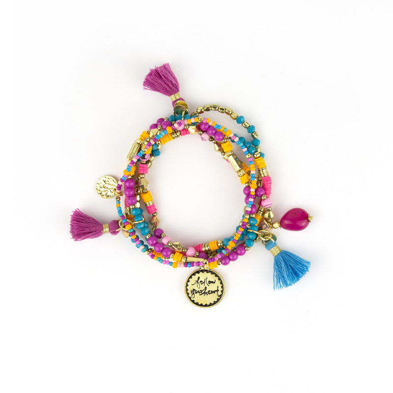 Intrinsic Colourful Boho Beaded Charm Bracelet Set