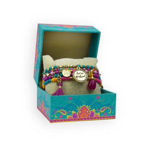 Intrinsic Turquoise and Magenta Pink Beaded Bracelet Gift Boxed Set