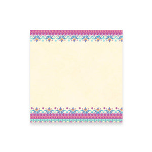 Turquoise and Pink Folk Patterned Note Paper