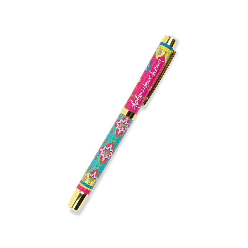 Hot Pink and Turquoise Mandala Patterned Rollerball Pen with Indigo Ink