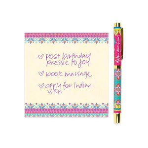 Follow Your Heart Rollerball Pen with Purple Ink and Matching Notepaper