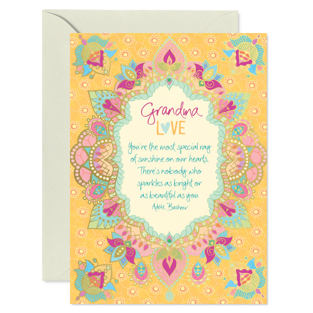 Intrinsic Yellow Grandma Greeting Card with inspirational words of love