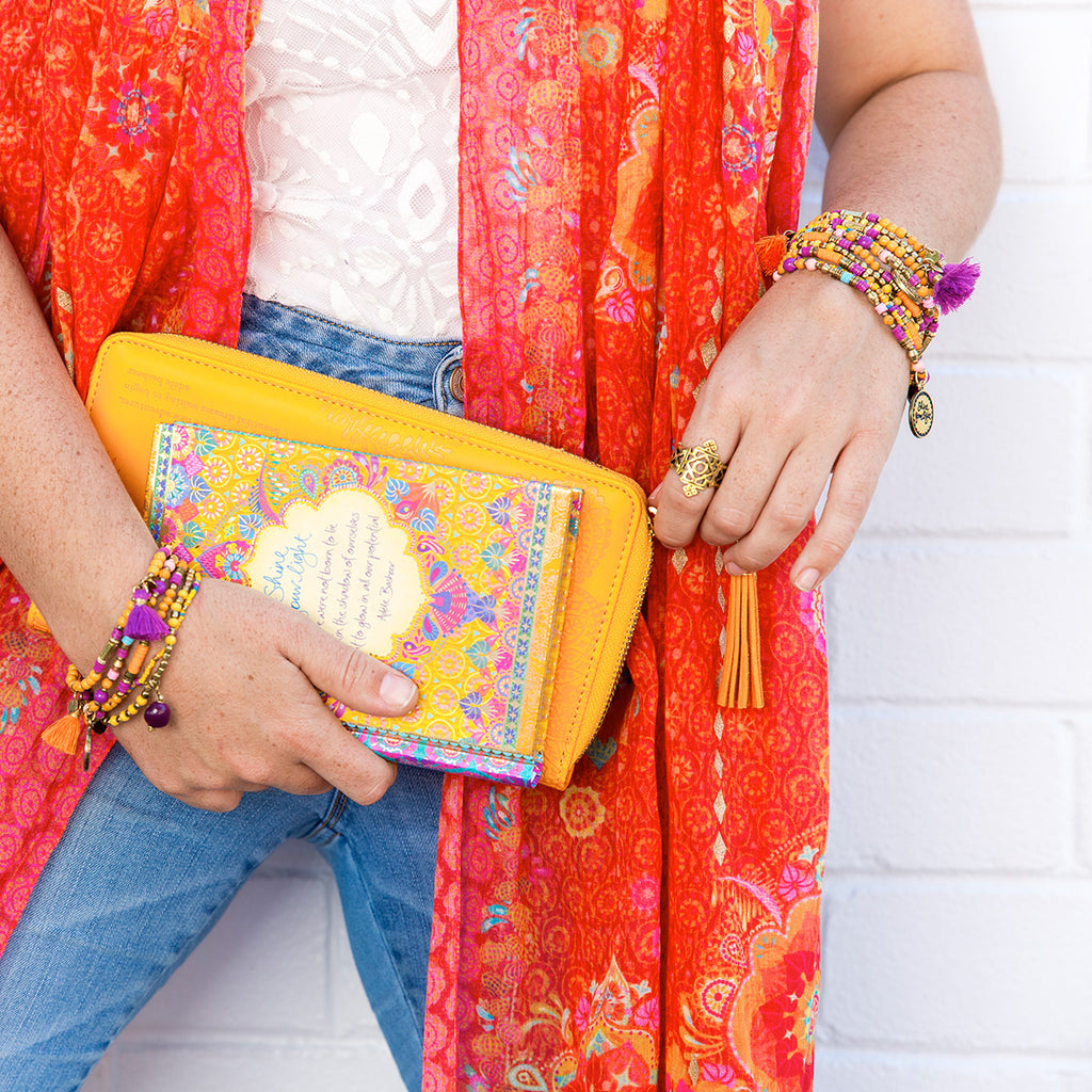 Intrinsic Gyspy Wanderer Bracelet Stack, Cafe Journal and Marigold Clutch
