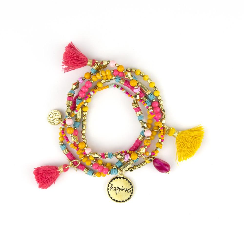 Intrinsic Hot Pink and Yellow Beaded Boho Bracelet Stack
