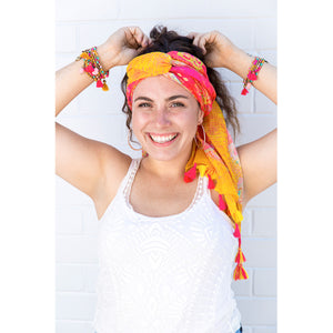 Intrinsic Happiness Bracelet Stack, summer head scarf