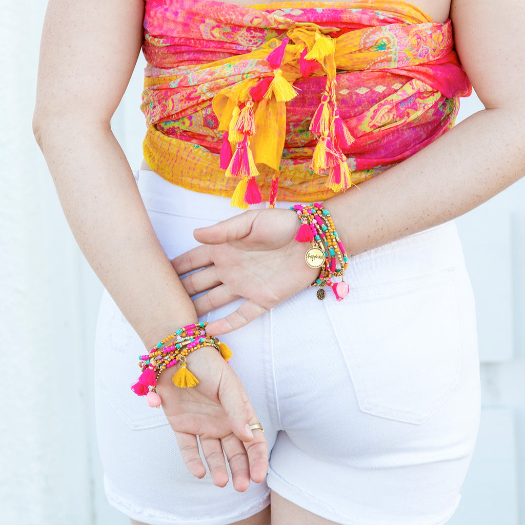 Intrinsic Happiness Bracelet Stack and matching summer scarf