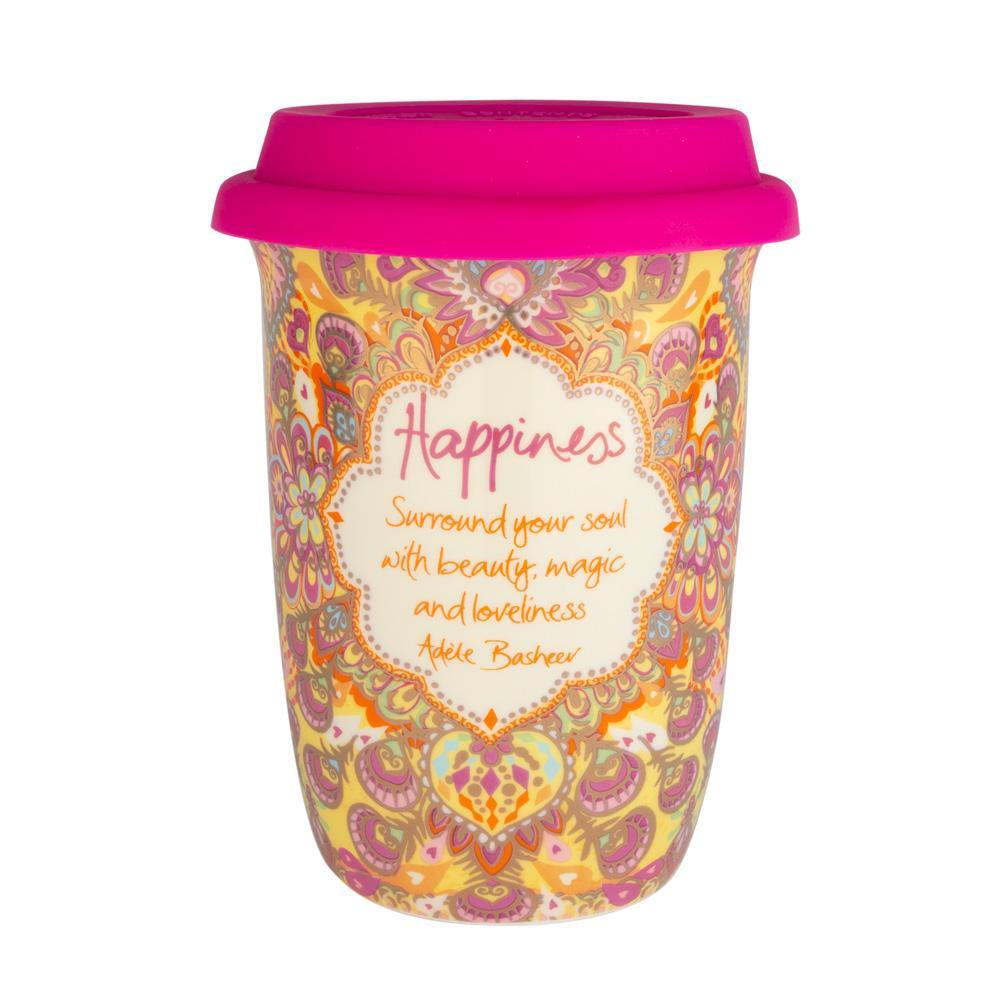 Intrinsic Happiness Golden Yellow Patterned Travel Coffee Mug