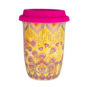 Yellow and Pink Boho Illustrated Ceramic Keep Cup