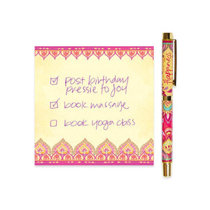 Hot Pink and Yellow Happiness Rollerball Pen with Purple Ink