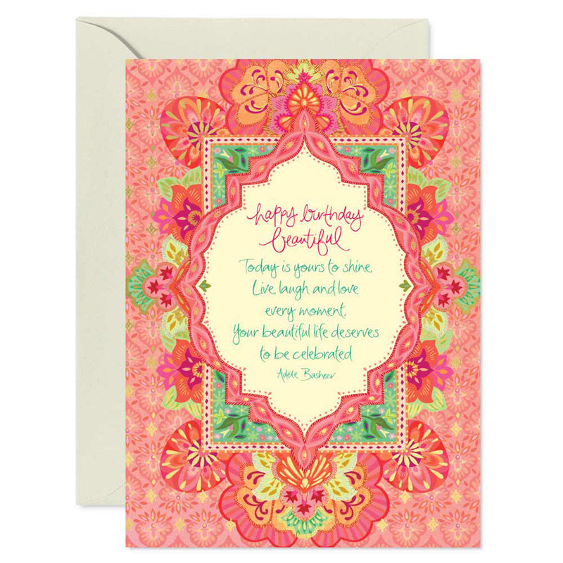 Intrinsic Pink and Gold Beautiful Dreamer Birthday Greeting Card with inspirational quote