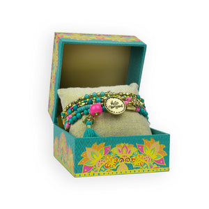 Intrinsic Turquoise and Pink Tassel Bracelet Stack with Christmas Gift Box