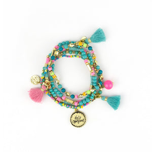 Intrinsic Turquoise Soft Pink Beaded Bliss Boho Charm Bracelets